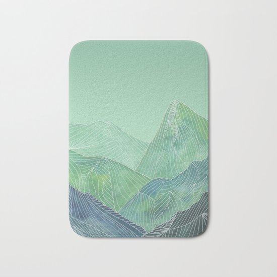 Lines in the mountains - green Bath Mat