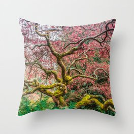 Intricate tree branches and ferns Throw Pillow