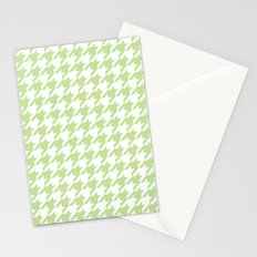 Green Houndstooth Pattern Stationery Cards