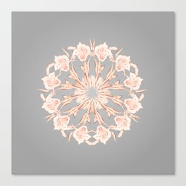 Rose Gold Gray Lilies Mandala Canvas Print