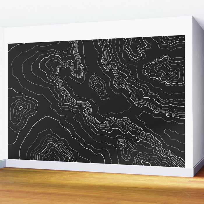 Black & White Topography map Wall Mural