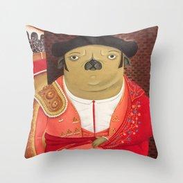 Matador Pug Throw Pillow