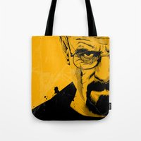 breaking bad Tote Bags featuring Breaking Bad by The Art Warriors