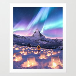 Snow Lanterns Art Print