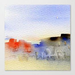 buildings near the beach Canvas Print