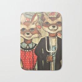 American Gothic Foxes Bath Mat