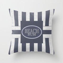 Beach Bum Striped Nautical Theme Throw Pillow