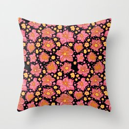 Pretty Pink And Yellow Floral Pattern Throw Pillow