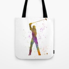Man practicing golf in watercolor 04 Tote Bag