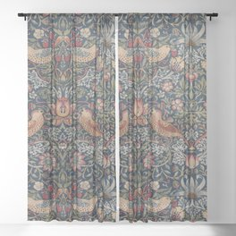 Strawberry Thief by William Morris Sheer Curtain