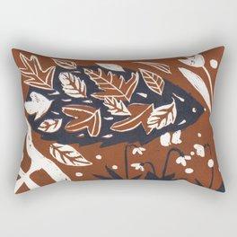 Hedgehog in autumn woods - Brown Palette Rectangular Pillow
