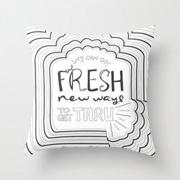 Fresh New Ways – Grey Throw Pillow