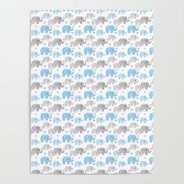 Blue Gray Elephant Baby Boy Nursery Poster