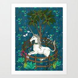 Unicorn Tapestry: the Unicorn in Captivity Art Print