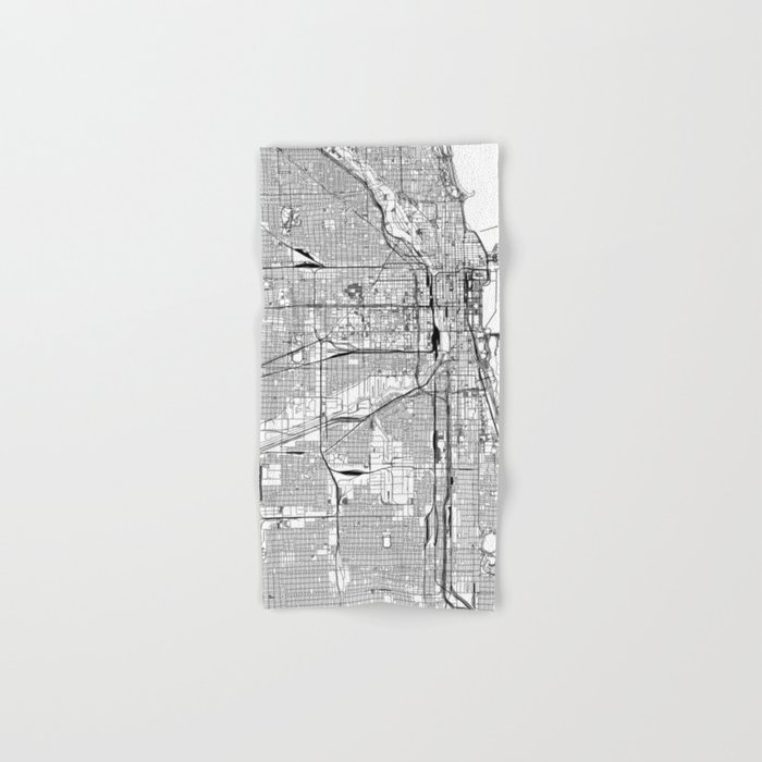 Chicago White Map Hand & Bath Towel