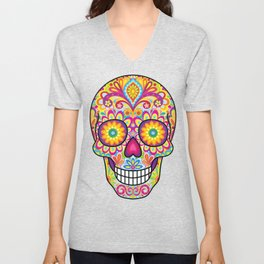 Sugar Skull Art (Spark) Unisex V-Neck