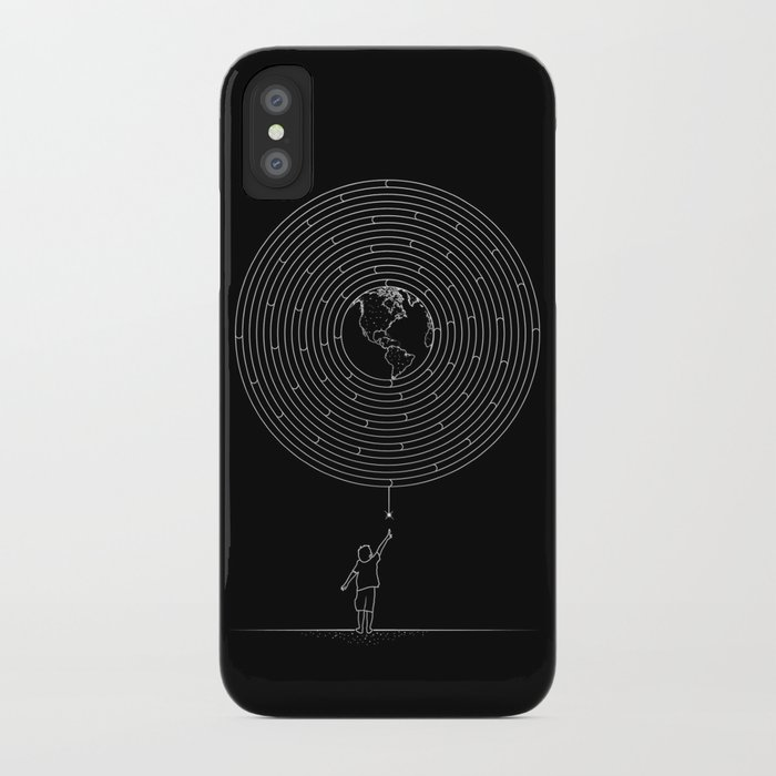 I Dream To Explore The World (Black) iPhone Case