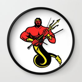 Typhon Holding Trident Mascot Color Wall Clock
