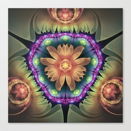 Crystalline Orange Quartz Agate Fractal Flowers Canvas Print