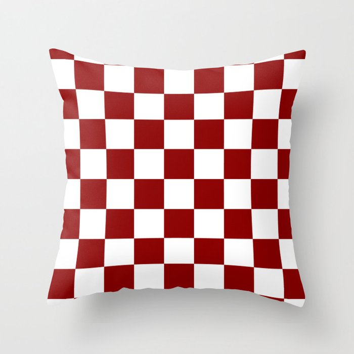 Dark Red Throw Pillows.Checkered White And Dark Red Throw Pillow By Checkeredanddiamonds