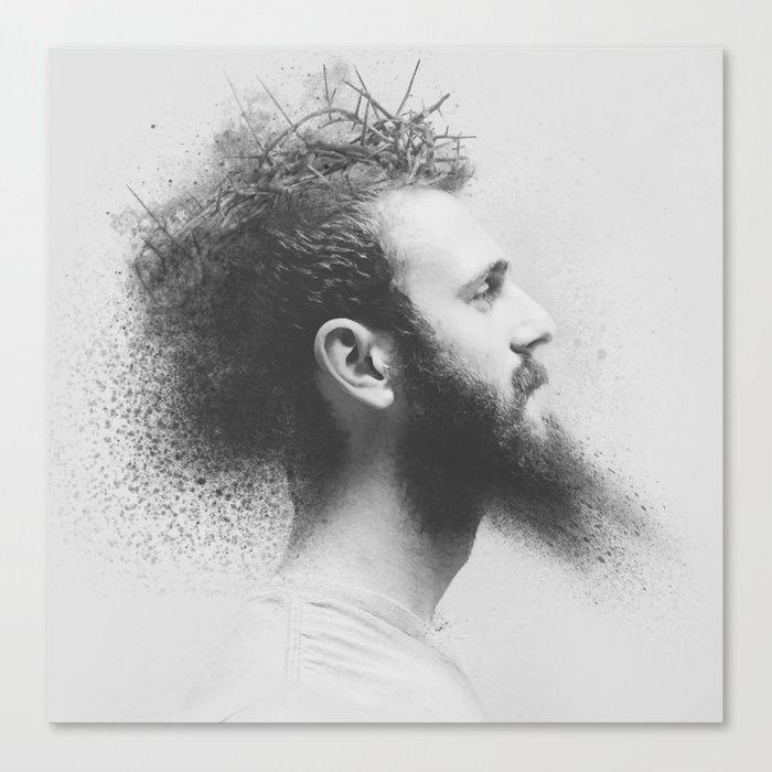 Watercolor Handsome Man Face Beard Black and White Canvas Print