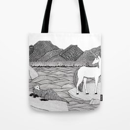 A Meeting by the Water--B&W Tote Bag