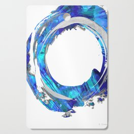 Blue And White Abstract Art - Swirling 1 - Sharon Cummings Cutting Board
