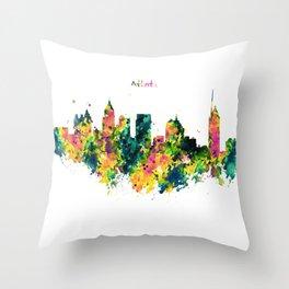 Atlanta Watercolor Skyline Throw Pillow