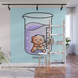 Catalyst Cute Cat Chemistry Science Pun Wall Mural