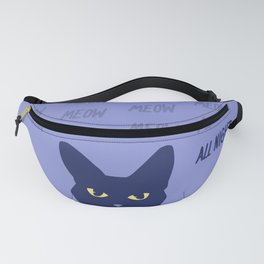 Meow all night long blue cat Fanny Pack