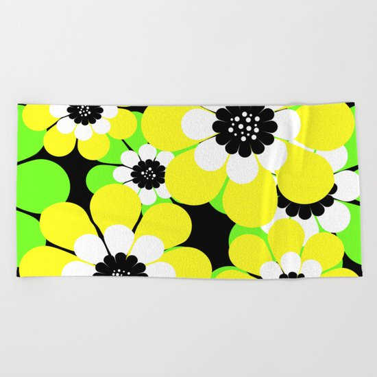 Yellow green bright floral pattern . Beach Towel