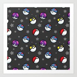 Classic Pokéball Pattern (Dark Version) Art Print