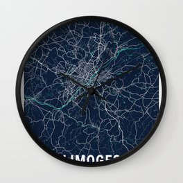 Limoges Blue Dark Color City Map Wall Clock