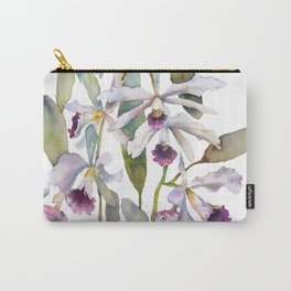 Cattleya Orchid White and Purple with Goldfish Muted Pallet Botanical Design Carry-All Pouch