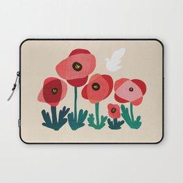 Poppy flowers and bird Laptop Sleeve