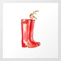 craftberrybush Art Prints featuring Red Christmas Boot by craftberrybush