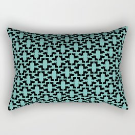 Scottie Dog Hex Pattern in Green Rectangular Pillow