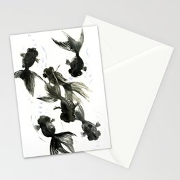 Black Moor, Feng Shui art, black fish zen painting Stationery Cards