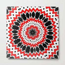 Bizarre Red Black and White Pattern Metal Print