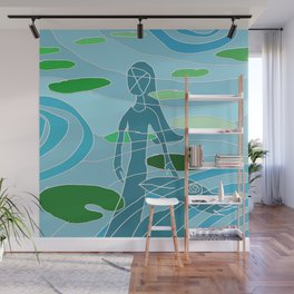 woman and bird - lily pond reflection Wall Mural
