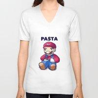 pasta V-neck T-shirts featuring Pasta Mario by Joel Hinojosa