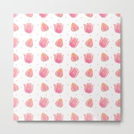 Hand painted blush pink coral watercolor tulip floral Metal Print