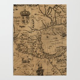 Vintage Map of Mexico (1600) Poster