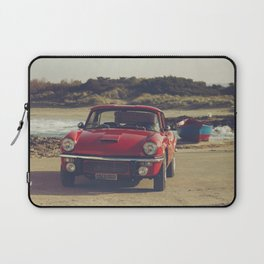 Triumph Spitfire by the sea, with ship, fine art photo, british car, sports car, color, high definit Laptop Sleeve
