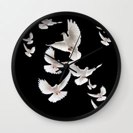 WHITE PEACE DOVES ON BLACK COLOR DESIGN ART Wall Clock