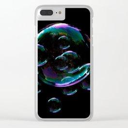IRIDESCENT SOAP BUBBLES  BLACK COLOR Clear iPhone Case