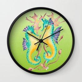 Seahorses Kelp Lime Wall Clock