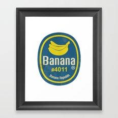 Banana Sticker On White Framed Art Print