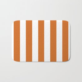 Cinnamon[citation needed] orange - solid color - white vertical lines pattern Bath Mat