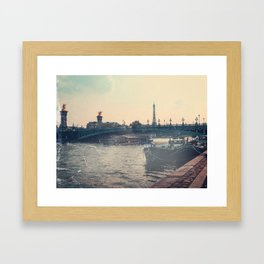 The Seine and Eiffel Tower, Vintage Styled Framed Art Print